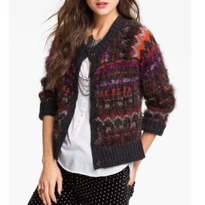 FREE PEOPLE Nordic 'Pattern Party' Fuzzy Cardigan